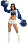 Women's Dallas Cowboy Cheerleader Costume,White,Small