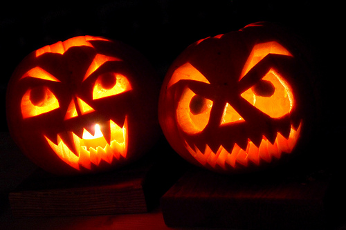 Halloween Carved Scary Pumpkin
